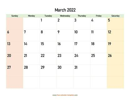 march 2022 calendar colored horizontal