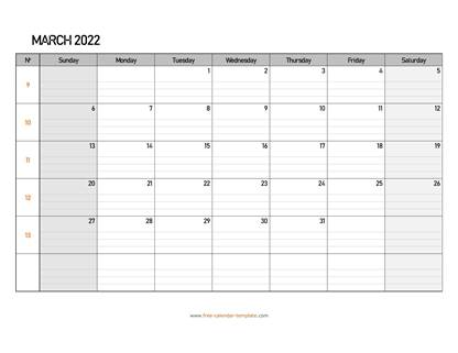 march 2022 calendar daygrid horizontal