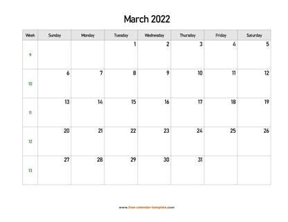 march 2022 calendar holidays horizontal