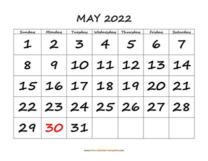 may 2022 calendar bigfont horizontal