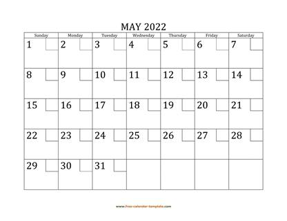 may 2022 calendar checkboxes horizontal