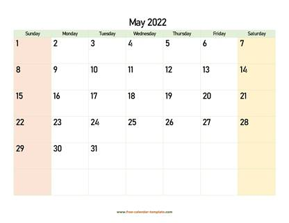 may 2022 calendar colored horizontal