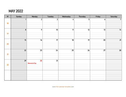 may 2022 calendar daygrid horizontal