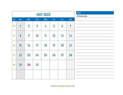 may 2022 calendar largenotes horizontal