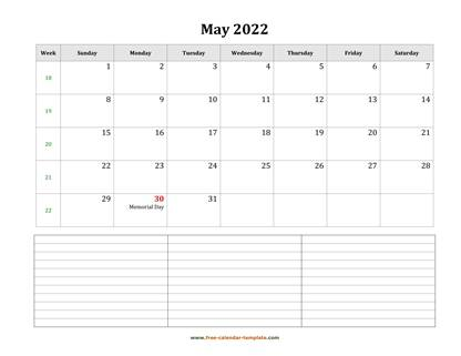 may 2022 calendar notes horizontal