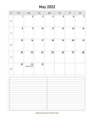 may 2022 calendar notes vertical