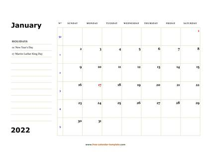 Printable Monthly 2022 Calendar (box and lines for notes ...