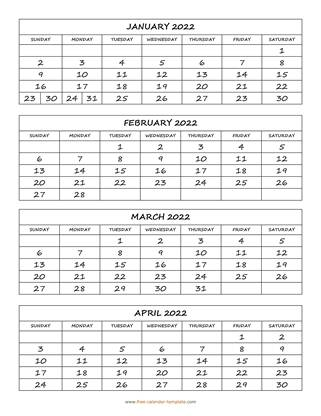 monthly 2022 calendar four months vertical