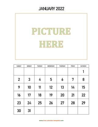 monthly 2022 calendar picture vertical