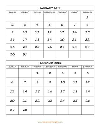monthly 2022 calendar two months vertical