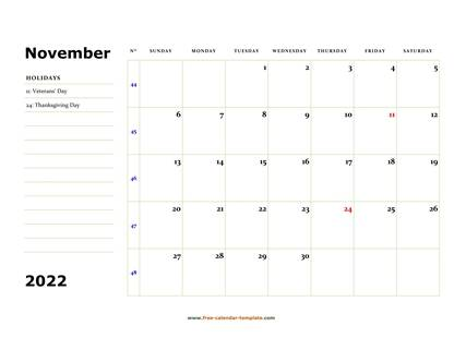 Printable November 2022 Calendar (box and lines for notes ...