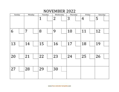 november 2022 calendar checkboxes horizontal