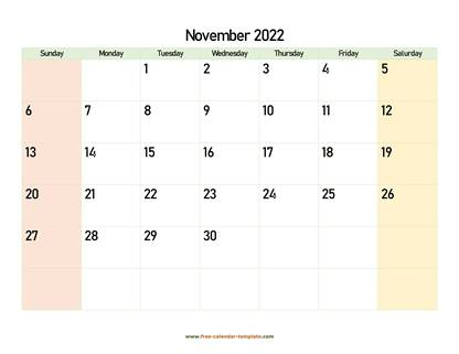 november 2022 calendar colored horizontal