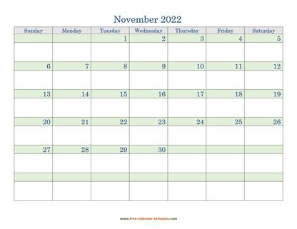 november 2022 calendar daycolored horizontal