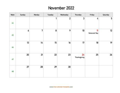 november 2022 calendar holidays horizontal