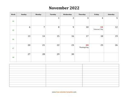 november 2022 calendar notes horizontal