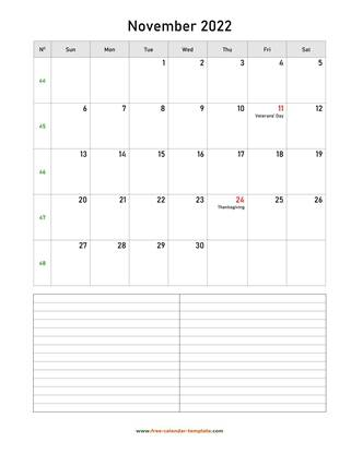 november 2022 calendar notes vertical