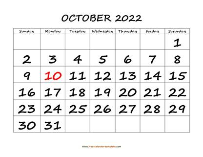 october 2022 calendar bigfont horizontal