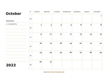 october 2022 calendar boxnotes horizontal