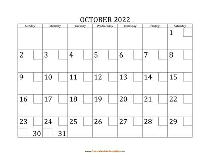 october 2022 calendar checkboxes horizontal