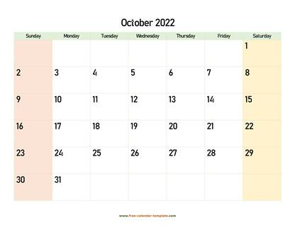 october 2022 calendar colored horizontal