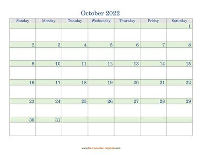 october 2022 calendar daycolored horizontal
