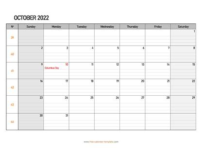 october 2022 calendar daygrid horizontal