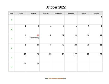 october 2022 calendar holidays horizontal