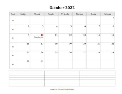 october 2022 calendar notes horizontal