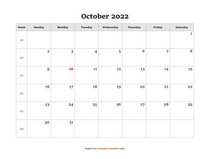 october 2022 calendar simple horizontal