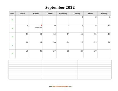 september 2022 calendar notes horizontal