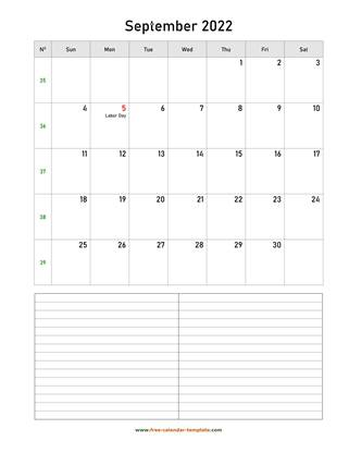 september 2022 calendar notes vertical