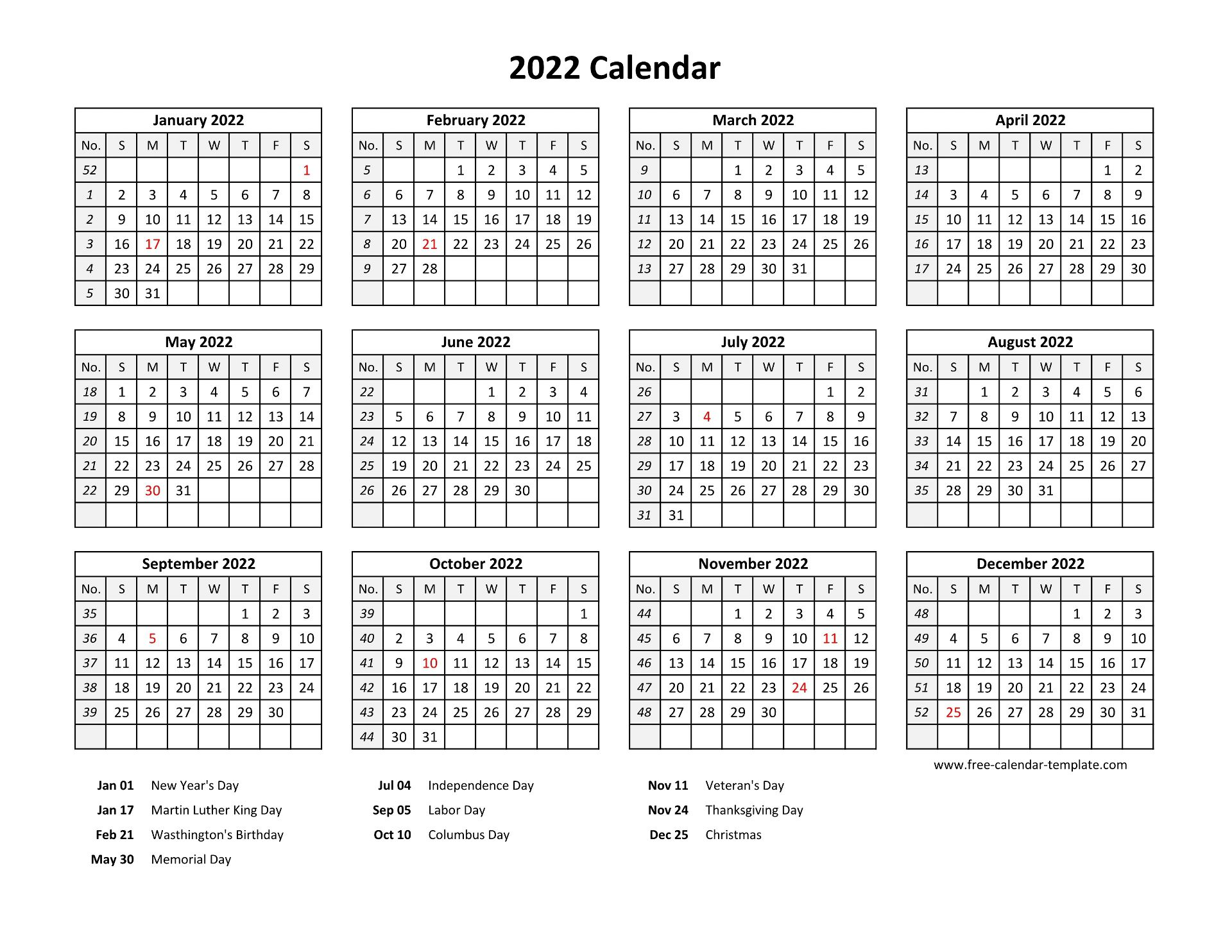 Printable yearly calendar 2022 with US holidays | Free ...