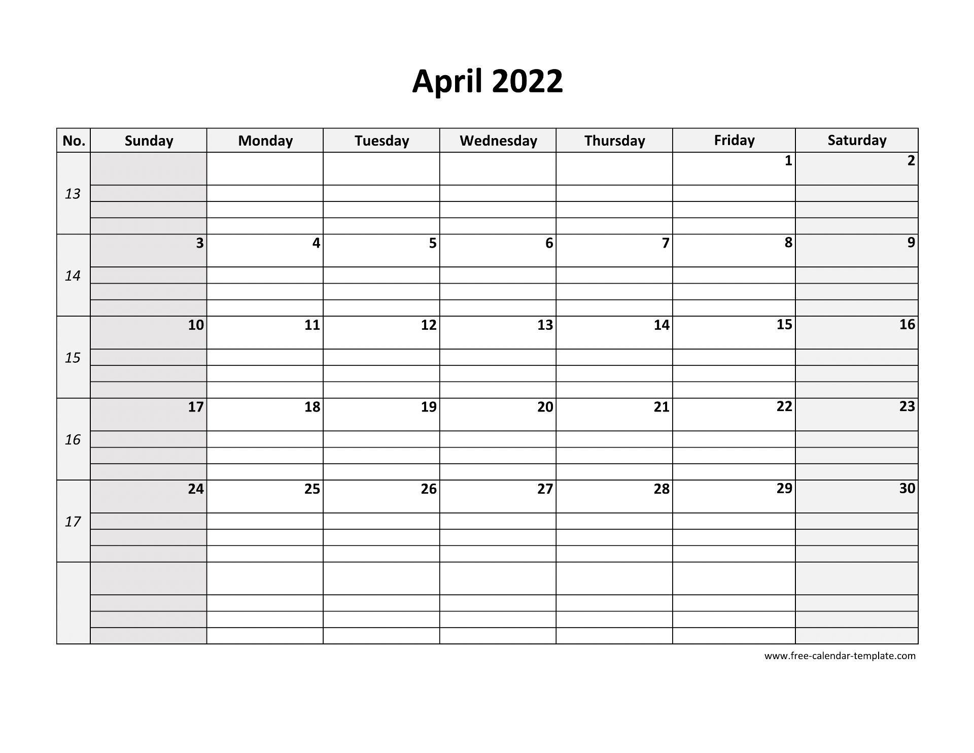 April 2022 Calendar Free Printable with grid lines ...