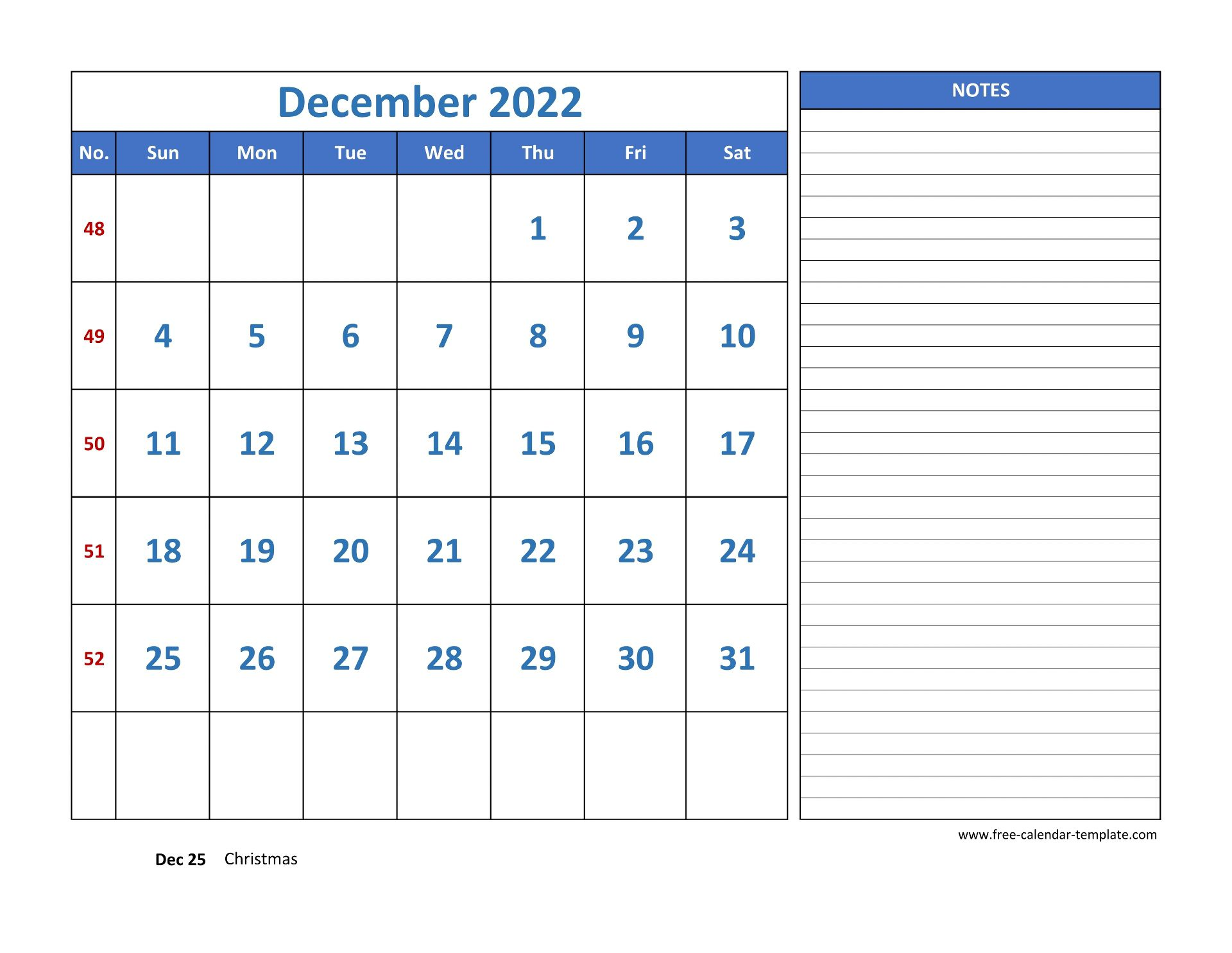 December Calendar 2022 grid lines for holidays and notes ...