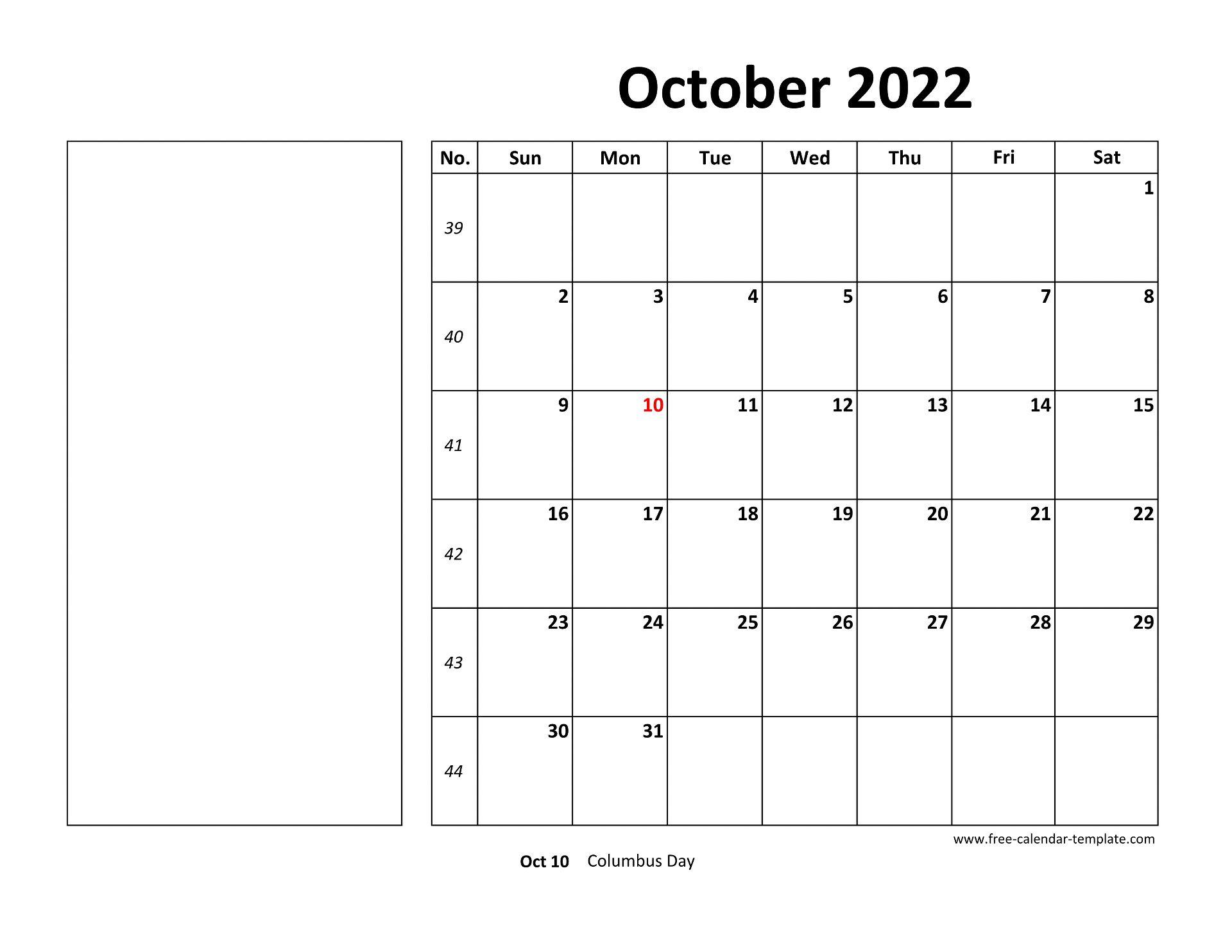 October 2022 Free Calendar Tempplate | Free-calendar ...