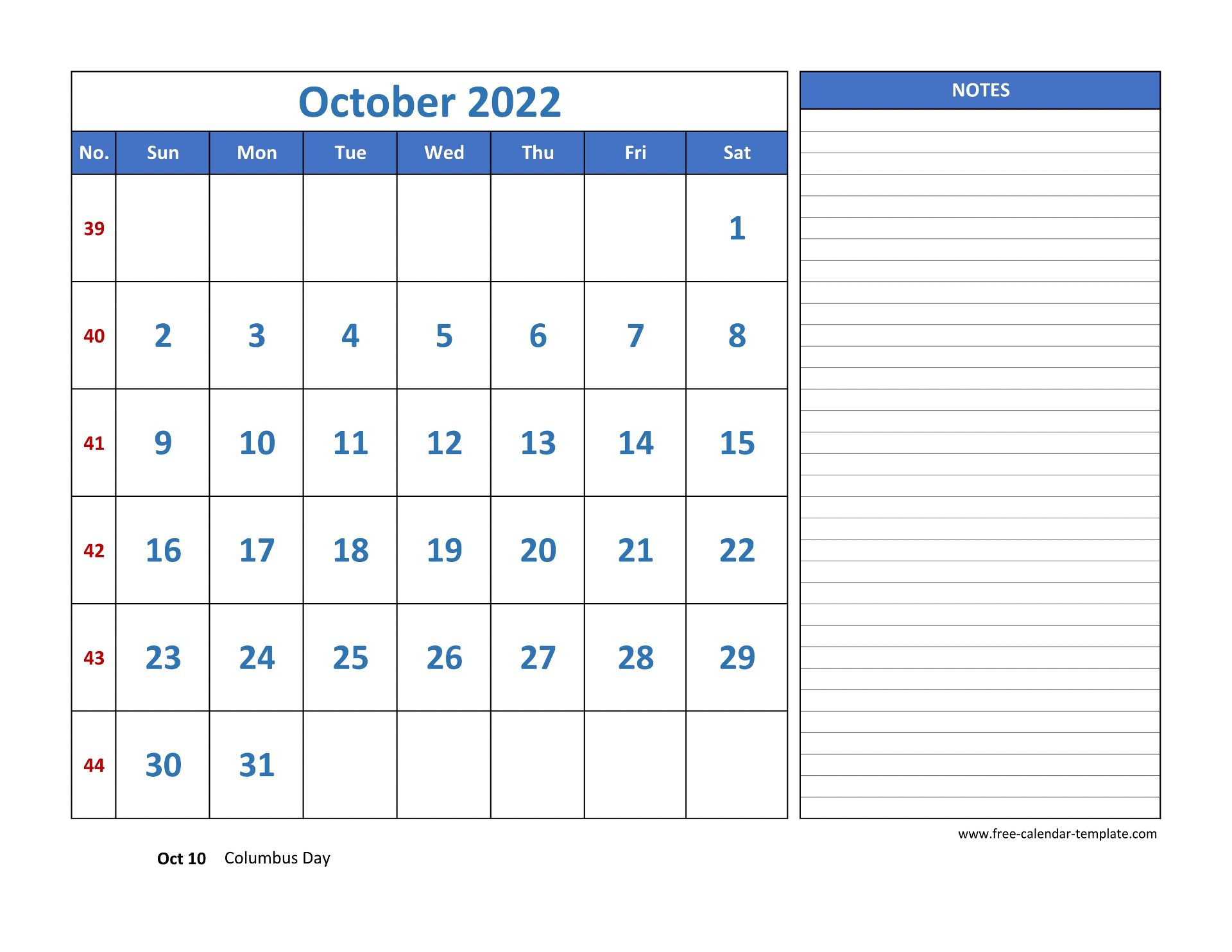 October Calendar 2022 grid lines for holidays and notes ...