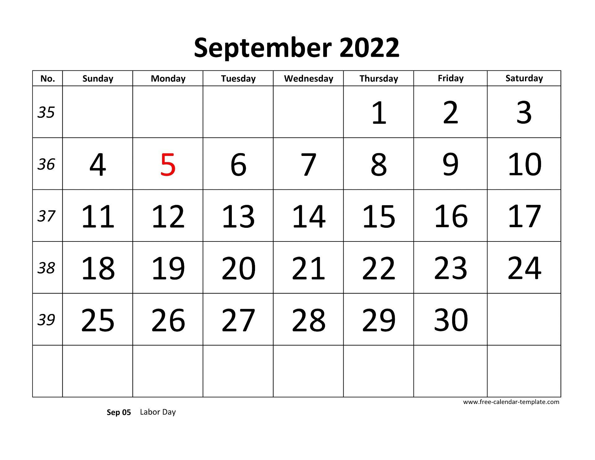 September 2022 Free Calendar Tempplate   Free-calendar ...